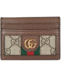 2d9a683ea2b Gucci Gg Supreme Snake-print Card Holder in Natural - Lyst