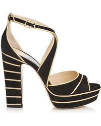 8161ab77e101 Jimmy Choo - April 120 Suede Platform Sandals - Lyst