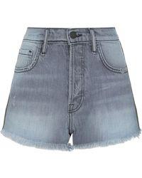 Sandrine Rose - Side Stripe Frayed Denim Shorts - Lyst