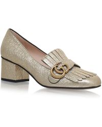 372a270a2 Gucci Marmont Fringed Leather Pumps in Black - Lyst