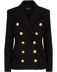 Balmain - Longline Double-breasted Cashmere-blend Blazer - Lyst