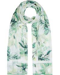 St. John - Leave Print Silk Scarf, White, One Size - Lyst