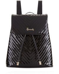 Harrods - Patent Chevron Backpack - Lyst