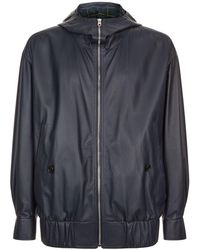 Burberry - Leather Hooded Jacket - Lyst