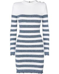 Balmain - Sequinned Striped Knit Mini Dress - Lyst