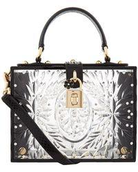 Dolce   Gabbana Greta Medium Striped-leather Tote in White - Lyst 88dc785ee5bd8