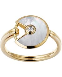 Cartier - Extra Small Yellow Gold And Mother-of-pearl Amulette De Ring - Lyst