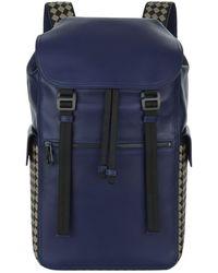 Bottega Veneta - Leather Sassolungo Chequered Backpack - Lyst