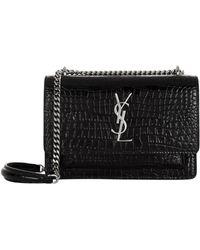 Saint Laurent - Medium Sunset Croc Embossed Leather Bag - Lyst