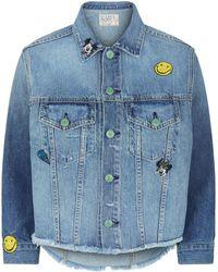 Sandrine Rose - Embroidered Cropped Denim Jacket - Lyst