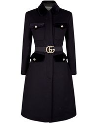 Gucci - Gg Belt Single Breasted Wool Blend Coat - Lyst
