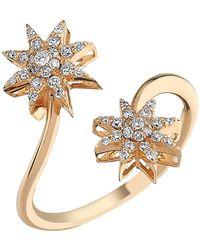 Bee Goddess - Rose Gold And Diamond Venus Star Ring - Lyst