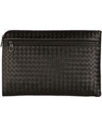 Bottega Veneta - Intrecciato Weave Document Case, Black, One Size - Lyst