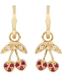 Sydney Evan - Yellow Gold Ruby Cherry Hoop Earrings - Lyst