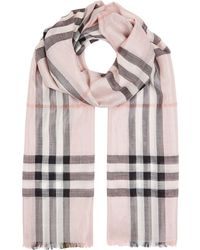 Burberry - House Check Metallic Gauze Scarf - Lyst