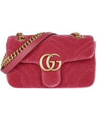 Gucci - GG Marmont Small Quilted-velvet Cross-body Bag - Lyst