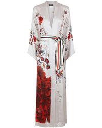 Meng | Peacock Belted Silk Robe | Lyst