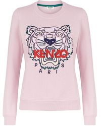 0e8665c16 KENZO Mesh Tiger Icon Sweatshirt in White - Lyst