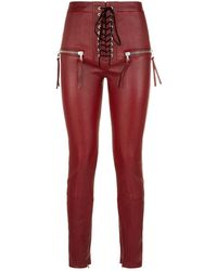 Unravel - Leather Lace-up Trousers - Lyst
