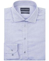 Emporio Armani - Herringbone Formal Shirt - Lyst