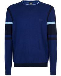 BOSS Green - Crew Neck Colour Block Sweater - Lyst