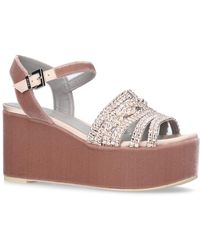 Gina | Embellished Velvet Luzon Wedge Sandals | Lyst