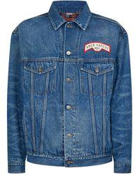 3c87876ac Gucci Vintage Logo Washed Denim Jacket in Black for Men - Lyst