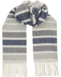 Eton of Sweden - Wool Striped Herringbone Scarf - Lyst