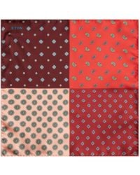 Eton of Sweden | Four Colour Paisley Pocket Square, Red, One Size | Lyst