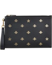 Gucci - Bee-print Grained-leather Pouch - Lyst