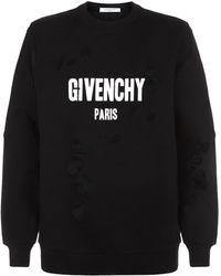 Givenchy - Distressed Logo Sweatshirt - Lyst