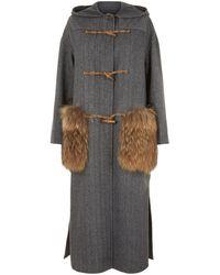Weekend by Maxmara - Fur Trim Wool Duffel Coat - Lyst