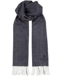 Corneliani - Silk-cashmere Herringbone Scarf - Lyst