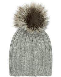 Harrods - Fur Pom Pom Cashmere Hat - Lyst