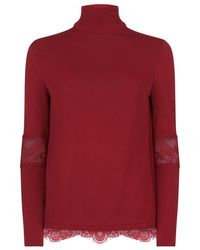 Elie Saab - Lace Insert Turtleneck Top - Lyst