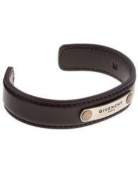Givenchy - Logo Plaque Leather Bracelet - Lyst
