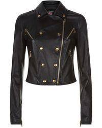 Dolce & Gabbana - Leather Biker Jacket - Lyst