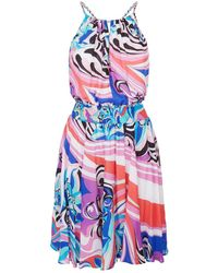 Emilio Pucci - Patterned Halterneck Mini Dress - Lyst