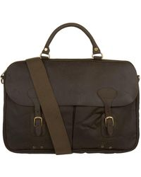 Barbour - Wax Leather Briefcase - Lyst