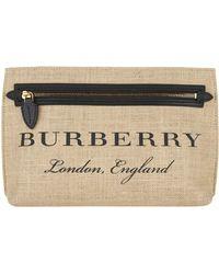Burberry | Woven Jute Wristlet Clutch | Lyst