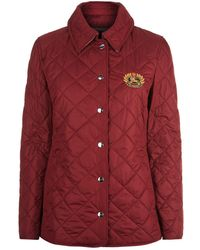 Burberry - Embroidered Crest Diamond Quilted Jacket - Lyst
