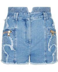Balmain - Embroidered Denim Shorts - Lyst