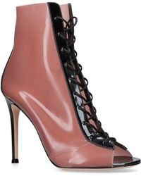black and blush Ree 105 patent leather and latex lace-up boots Gianvito Rossi 8Qc5zbE