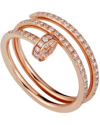 Cartier - Pink Gold And Pav Diamond Double Juste Un Clou Ring - Lyst