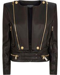 Balmain - Structured Leather Jacket - Lyst