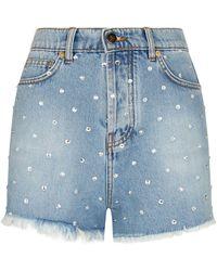Morgan Premium Embellished Denim Short in Blue - Lyst 3caefa3a5