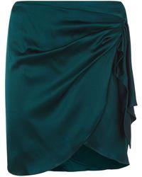 Caroline Constas - Ruched Side Satin Skirt - Lyst