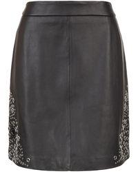 MICHAEL Michael Kors - Leather A-line Skirt - Lyst