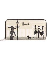 Harrods | Knightsbridge Shopping Long Wallet, Cream | Lyst