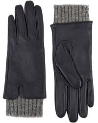 Sandro - Knit Cuffs Leather Gloves - Lyst